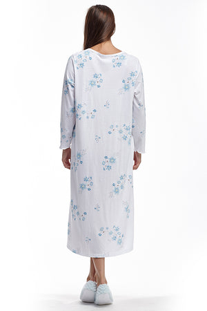 Floral Long Sleeve Night Gown