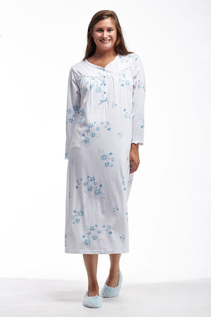 Floral Long Sleeve Plus Size Night Gown