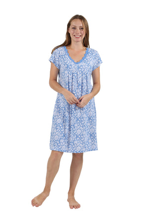 100% Cotton Blue Floral Sleep Shirt