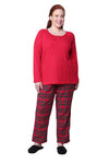 Plus Size Cotton Knit Top With Flannel Pajama Set