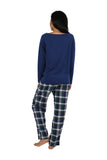 Cotton Knit Top With Flannel Pajama Set