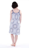 Rayon Blue and White Printed Chemise