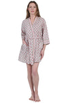 La Cera Short Cotton Wrap Robe