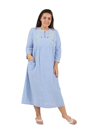 100% Cotton Plus Size Zip Front Robe