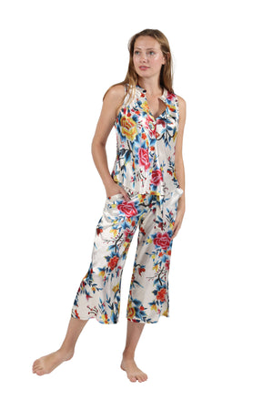 Satin Floral Multi Colored Lounge Set