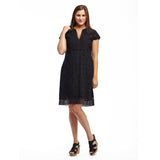 La Cera Medallion Lace Cap Sleeve Dress