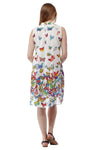 La Cera Sleeveless Butterfly Printed Dress