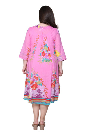 La Cera Plus Size 100% Cotton Printed Plus Size Dress