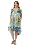 100% Cotton Paisley Printed Dress