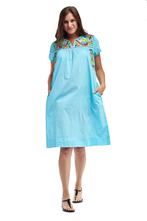 La Cera Embroidered Short Sleeve Dress