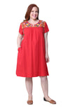 Plus Size La Cera Embroidered Short Sleeve Dress
