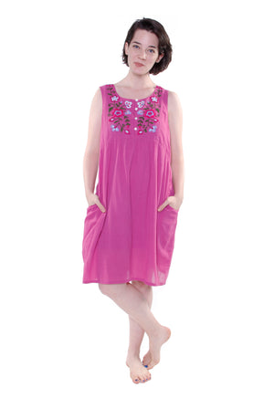 100% Cotton Sleeveless Embroidered Chemise
