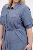 La Cera Plus Size 3/4 Sleeve Denim Shirt Dress - La Cera™ - 2