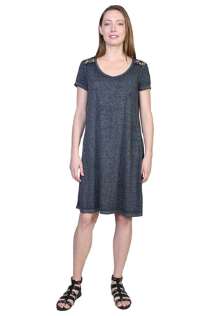 Plus Size Soft & Supple Knit Dress with Lace Trim