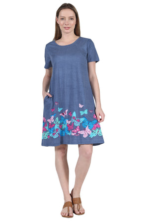 La Cera Novelty Floral Butterfly Print Short Sleeve Dress
