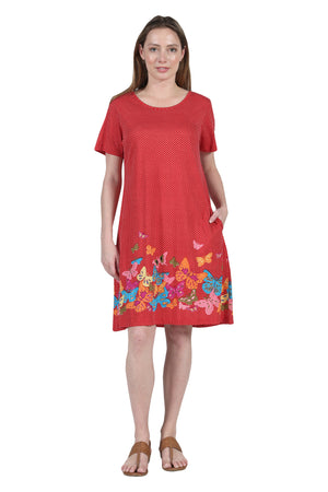La Cera Novelty Floral Butterfly Print Short Sleeve Plus Size Dress