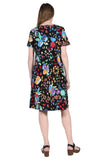 La Cera Abstract Floral Print Cotton Dress