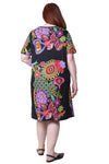 La Cera Novelty Floral Print Plus Size Short Sleeve Dress