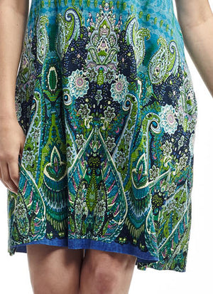 La Cera Novelty Paisley Print Short Sleeve Dress