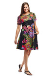 La Cera Novelty Floral Print Short Sleeve Dress