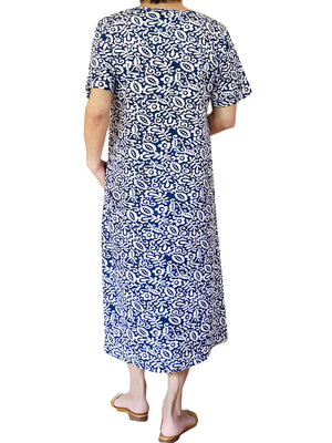 La Cera Cotton Floral Jersey Knit A-Line Dress