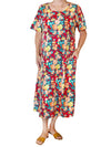 La Cera Floral Printed A-Line Dress - Plus Size