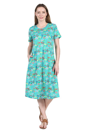 La Cera Printed A-Line Cotton Jersey Knit Plus Size Dress