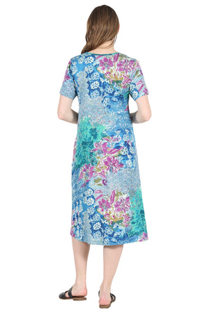 La Cera Cotton Floral Jersey Knit A-Line Plus Size Dress