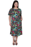 La Cera Floral Printed A-Line Knit Plus Size Dress