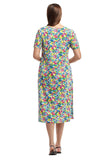 La Cera Multicolored Floral A-Line Dress