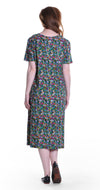 La Cera Mini Floral Print A-Line Knit Dress