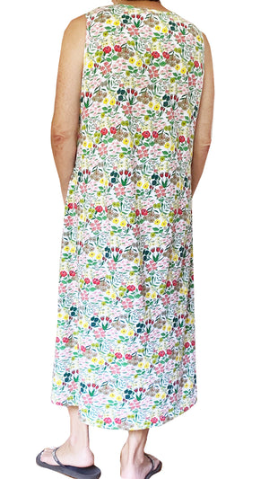 La Cera Sleeveless Printed A-Line Cotton Jersey Knit Dress