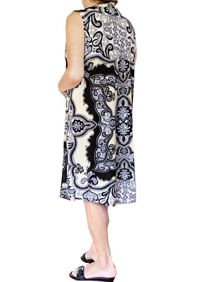 Sleeveless Dress With Border Print