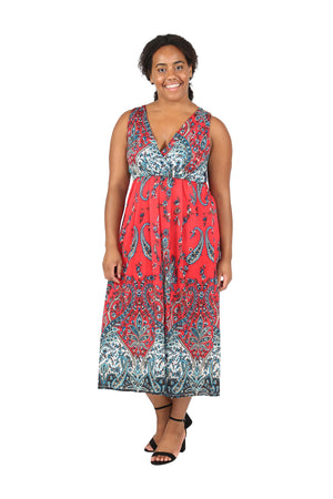 La Cera Sleeveless Paisley Printed Plus Size Maxi Dress
