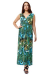 La Cera Peacock Printed Sleevless Maxi Dress