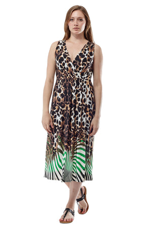 Animal Print Sleeveless Maxi Dress