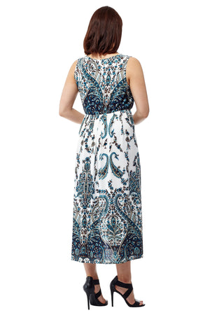 La Cera Sleeveless Paisley Printed Maxi Dress