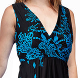 La Cera Paisley Border Print Sleeveless Printed Maxi Dress