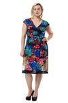 La Cera Plus Size Multi Print Cross-Over Front Dress