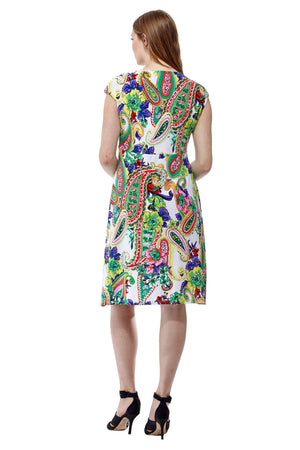 La Cera Paisley Floral Print Sleeveless Dress