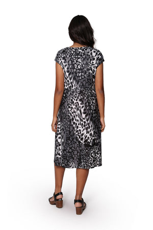 La Cera Animal Print Sleeveless Dress