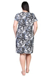 Plus Size La Cera Black and White Print Short Sleeve Dress