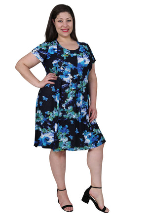 Plus Size La Cera Blue Floral Print Short Sleeve Dress