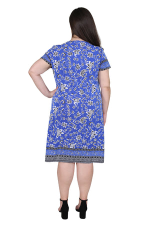 Plus Size La Cera Floral Border Print Short Sleeve Dress