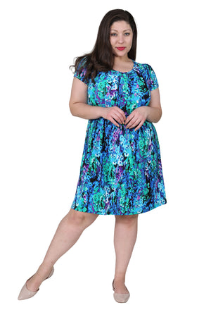 Plus Size La Cera Teal Multi Print Short Sleeve Dress