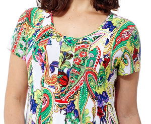 La Cera Paisley Floral Print Short Sleeve Dress
