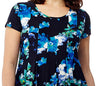 La Cera Blue Floral Print Short Sleeve Dress