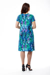 La Cera Teal Multi Print Short Sleeve Dress