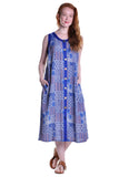 La Cera Blue Patchwork Sleeveless Dress