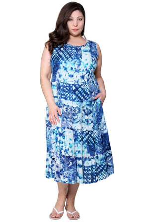 La Cera Blue Plus Size Sleeveless Maxi Dress